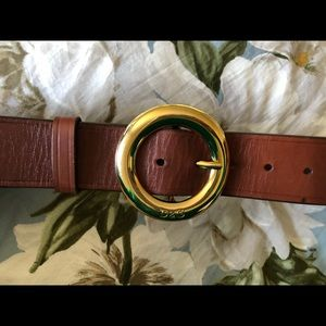 D&G brown leather belt with gold buckle